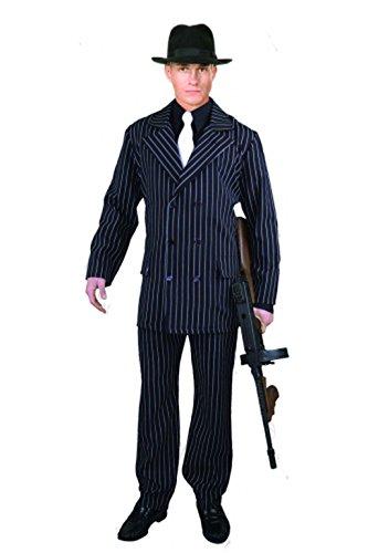 Charades Men's 6 Button Gangster Suit, Black/White, Large ()