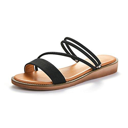 Sandalias Formas Zapatilla Casual De Color Cadena Sólido JIANXIN Zapatillas Planas Negro De Hembra Simple Y Y Yardas 39 Usar Fino Verano Dos Negro Marrón 35 d8wqa8A