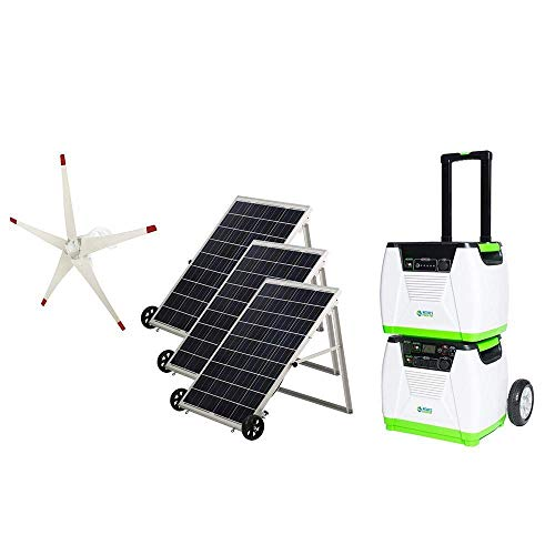 Nature's Generator Platinum WE System 1800W Solar & Wind Powered Pure Sine Wave Off-Grid Generator + 1200Wh Power Pod (1920Wh total) + 3 of 100W Solar Panels + Wind Turbine for Day and Night Use
