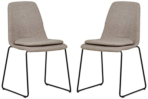 Rivet Jamie Mid-Century 2-Pack Removable Cushion Chairs, 34.2 H, Grey