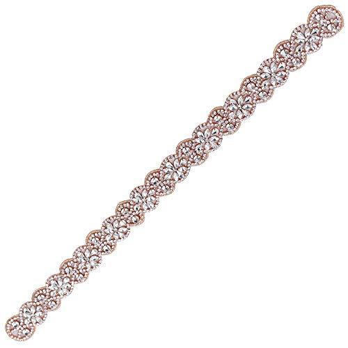 XINFANGXIU Rose Gold Bridal Rhinestone Appliques Sash Crystal Wedding Dress Belt Sew on Iron on for Formal Dress by XINFANGXIU