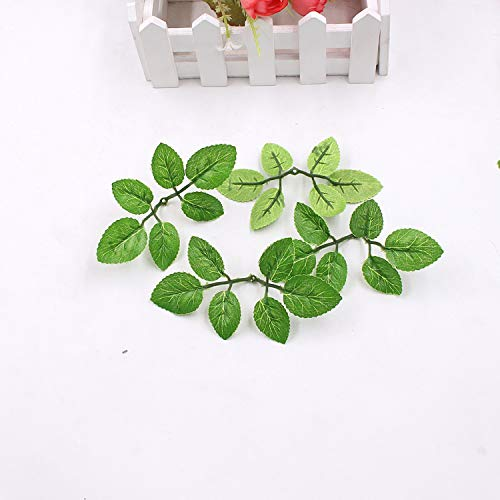 Zcaosma 10Pcs Green Artificial Leaf Flower Wedding Home Decoration Rose Bouquet Accessories Leaves DIY Cut and Paste Craft Fake -