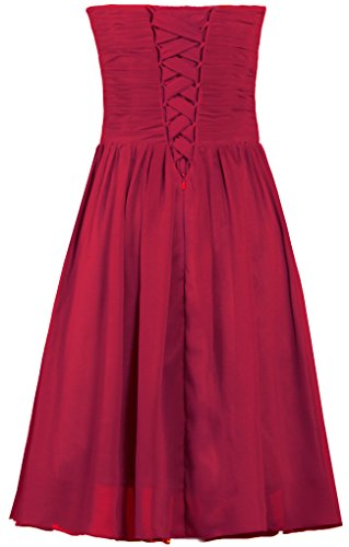 Fourmis Robes De Demoiselle D'honneur En Mousseline De Soie Sans Bretelles Robes De Soirée Courte Cocktail Rouge Profond