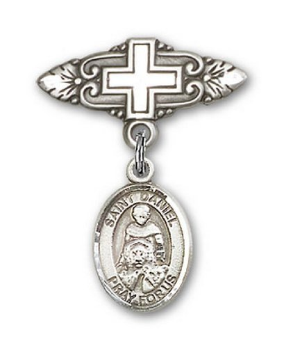 Icecarats Créatrice De Bijoux En Argent Sterling St. Daniel Broche De Badge Charme Avec Une Croix X 3/4