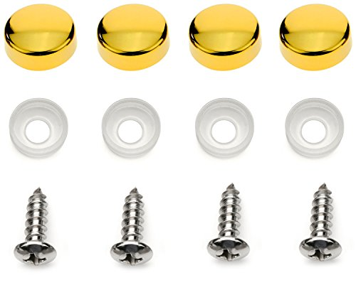 LFPartS License Plate Frame Screws Fasteners + Gold Screw Caps Set New - Gold Screw Accents