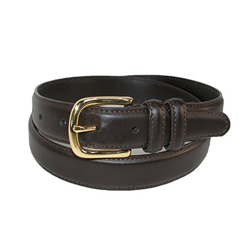 Aquarius Men's Big & Tall Leather Feather Edge Belt with Gold Buckle, (Aquarius Leather Belt)