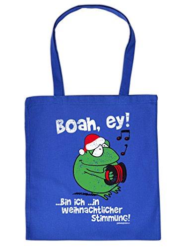 Weihnachten kommt immer näher - Stofftasche mit Druck - Boah, ey!... - Geschenkidee. Royal-Blau