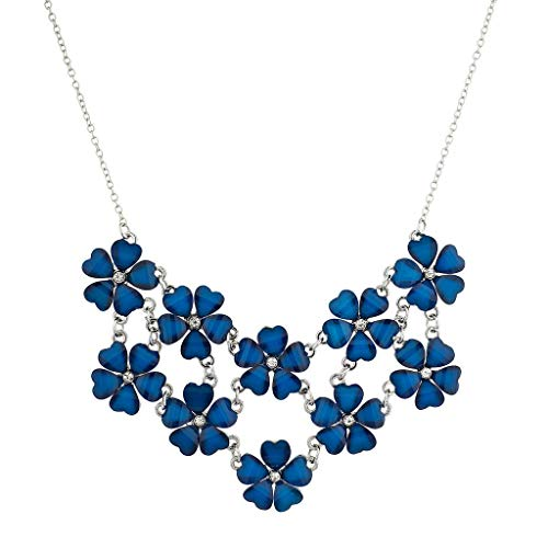 Lux Accessories Silvertone n Blue Acrylic Flower Floral Mini Statement Necklace