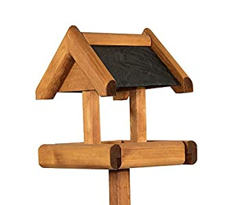 Riverside Woodcraft Rustic Slate Roof Bird Table With Anti Bacteria Coating