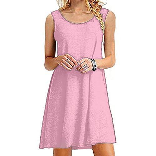 fe3dfbfe14f cheap GABREBI Women s Casual Loose T-Shirt Dress Sleeveless Summer Tank  Plus Size Swing Dresses