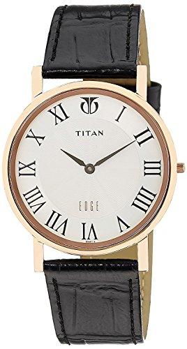 Titan Men's 1595WL01 Edge - Ultra Slim - Black Leather Strap Watch