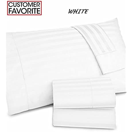 Charter Club Damask Stripe Wrinkle Resistant 500 Thread Count Pima Cotton California King Sheet Set White