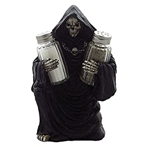 Grim Reaper Glass Salt and Pepper Shaker Set Sculpture for Gothic Bar and Kitchen Table Halloween Decor Figurines and Statues and Medieval & Fantasy Skulls and Skeletons Gifts by Home-n-Gifts 41kdBi0KZ9L