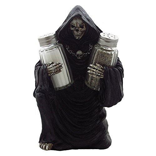 [Grim Reaper Glass Salt and Pepper Shaker Set Sculpture for Gothic Bar and Kitchen Table Halloween Decor Figurines and Statues and Medieval & Fantasy Skulls and Skeletons Gifts by] (Halloween Decor For Home)