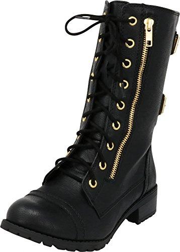 Cambridge Select Women's Lace-Up Round Toe Buckle Zipper Chunky Heel Combat Boot,8 B(M) US,Black ()