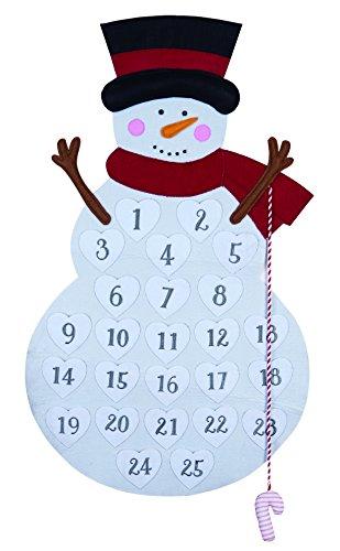 One Holiday Lane Large Felt Fabric Snowman Advent Calendar - Christmas Countdown Calendar Decoration with Candy Cane ()