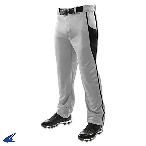 (Champro BP92U Adult Baseball Pants With BRIAD Pipe Triple Crown Open Bottom 2 Grey, Black XL)