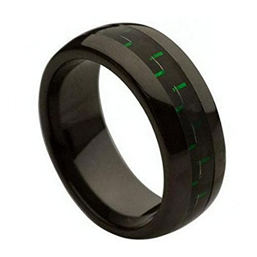 Ceramic Wedding Band Ring 8mm Green /& Black Carbon Fiber Inlay Black Ring