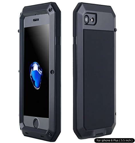 iPhone 6S Plus Case, Shockproof Dustproof Waterproof Heavy Duty Gorilla Glass Aluminum Alloy Metal Military Protector Skin Bumper Cover Shell Case for Apple iPhone 6 Plus/6s Plus (Black) by AICase