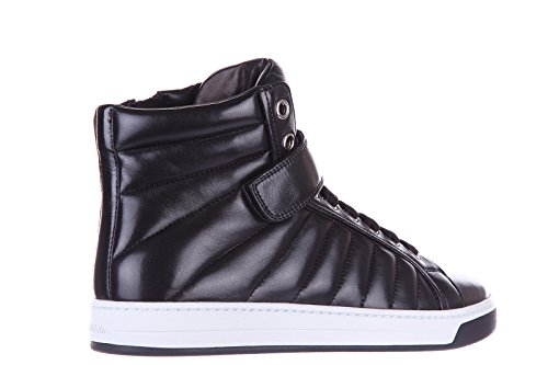 Prada Mens Shoes High Top Leather Trainers Sneakers Nappa Sport Black HkiaUXl
