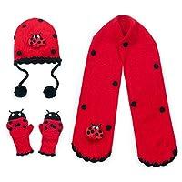 Kidorable Ladybug Hat, Scarf and Glove Set (Medium Mittens)