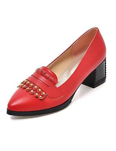 ZQ Zapatos de mujer-Tac¨®n Robusto-Tacones / Puntiagudos-Tacones-Oficina y Trabajo / Casual-PU-Negro / Rojo / Beige , red-us10.5 / eu42 / uk8.5 / cn43 , red-us10.5 / eu42 / uk8.5 / cn43 red-us5 / eu35 / uk3 / cn34
