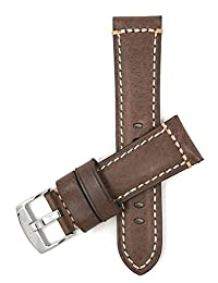 Genuine Italian Leather Watch Strap Band, 22mm, Brown, Double Stitching, Stai...