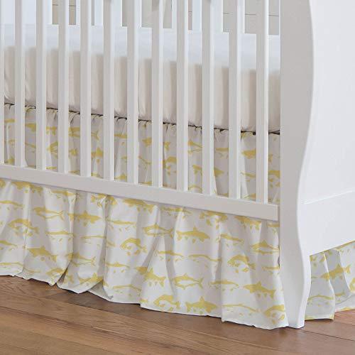 Carousel Designs Banana Yellow Fish Crib Skirt 17-Inch Gathered 17-Inch Length - Organic 100% Cotton Crib Skirt - Made in The USA