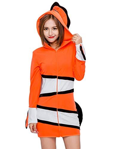 Adult Clownfish Costumes - Halloween Women's Tropical Clownfish Costume, Animal