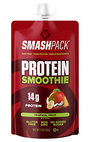 Smoothie Fruit Soy - SmashPack Protein Fruit Smoothie Squeeze Pouch (Tropical Fruit) – 14g of Protein with MCT Oil, No Added Sugar, Gluten Free, Non-GMO – On-The-Go Energy Snack, 5 oz Each - 6 Pack