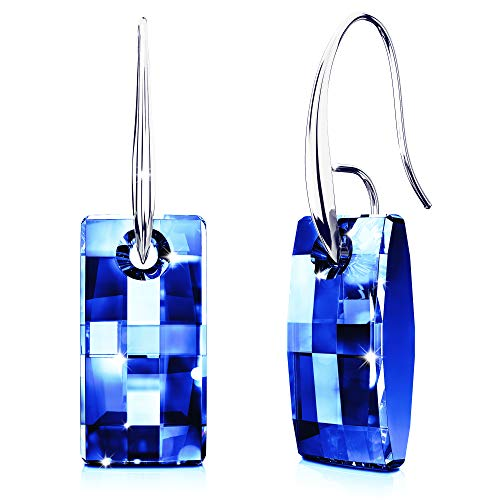 Earrings with Swarovski Crystals for Women with Sensitive Ears | Dangle Drop Jewelry | Bermuda Blue Crystal & Hypoallergenic Rhodium Plating