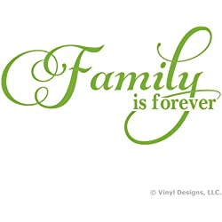 Family is Forever Quote Vinyl Wall Decal Sticker Art, Removable Home Decor, Lime Green