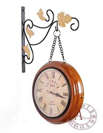 akhandstore 10 inch double side retro wall clock metal station clock chain wooden finish railway clock