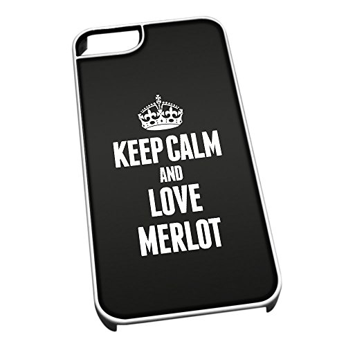 Bianco cover per iPhone 5/5S 1273 nero Keep Calm and Love Merlot
