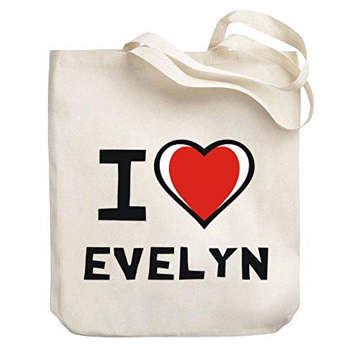 Teeburon I love Evelyn Canvas Tote Bag (Evelyn Tote)
