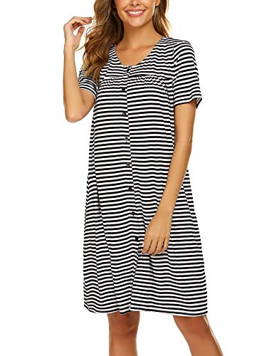 Ekouaer Women's Stripes Cotton Nightshirt Loose Short Sleeve Sleepwear Nightgowns Duster Robe (Black S)