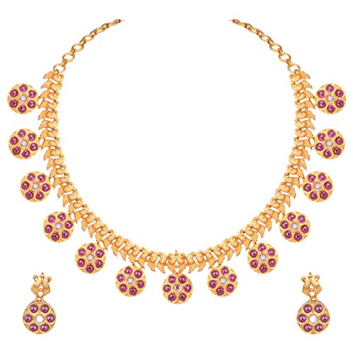 Aheli Beautiful Indian Traditional Temple Jewelry for Women Paisley Design Crafted Beaded Necklace Earrings Set