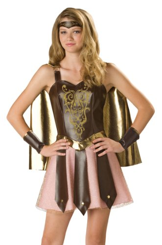 In Character Roman Gladiator Girl Greek Soldier Costume Juniors 9-11 -