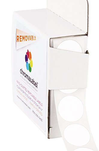 (ChromaLabel 3/4 inch Removable Color-Code Dot Labels | 1,000/Dispenser Box (White))