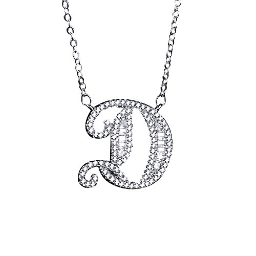 Uloveido Girls Lucky Letter D Charm Necklace White Gold Plated Chain Initial Pendant with Cubic Zirconia for Women Jewelry Gift NL025