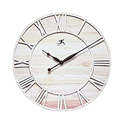 Farmhouse Fusion Oversized Wall Clock Coastal White Ivory Open Face Brown Hands Rustic Distressed Design Large Decorative Wall Clock for Living Room, Kitchen, Bedroom Large Decorative Clock