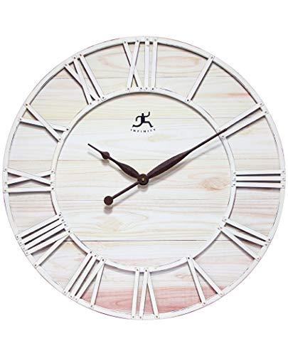 (Infinity Instruments Farmhouse Fusion White Wood Clock 28 inch Farmhouse Decor Wall Clock, Roman Numerals Open Face Large Clock)