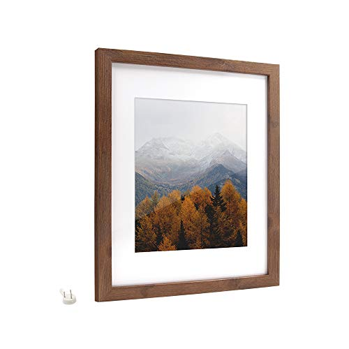 Afuly 11x14 Brown Picture Frame with 8x10 Mat,Smooth Wood Grain Finish,Hanging Harware and Stand Included