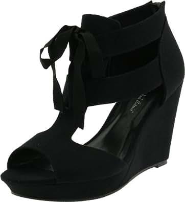 Michael Antonio Women's Gee Wedge Sandal,Black,5.5 M US