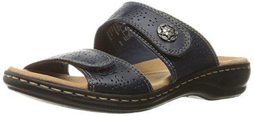 CLARKS Women's Leisa Lacole Slide Sandal, Navy Leather, 6.5 M US by CLARKS