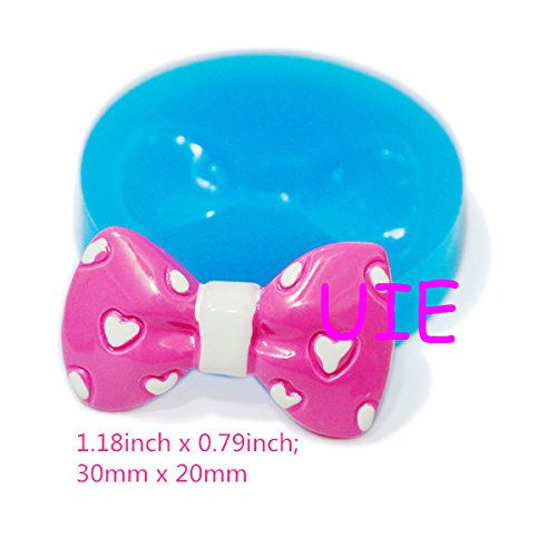 117LBF Bow Silicone Push Mold Dollhouse Kitsch Jewelry Charms Polymer Clay Charms Mini Resin Mold (Clay Fimo Resin Wax Gum)