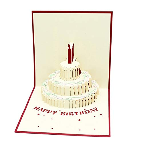 (Happy birthday 3D Pop UP Cards gifts with envelope stickers laser cut party invitation Greeting Card)