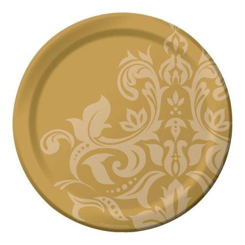 50th Golden Wedding Anniversary Damask Print Foil Banquet Plates x 18 (Non Message) Creative Party