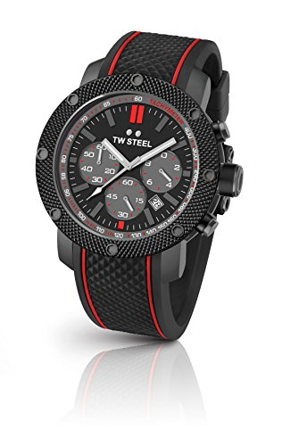 TW Steel Men's 'Grandeur Tech' Quartz Stainless Steel and Silicone Dress Watch, Color:Black (Model: TS6) 48mm Grandeur Watch