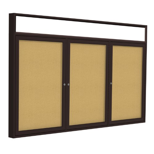 Top 3 Door Enclosed Bulletin Board Frame Finish: Bronze, Size: 3' H x 6' W